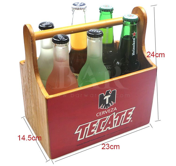 TECATE Wooden Beer Carrier