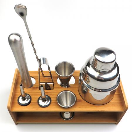 8 Pieces Cocktail Set With Bamboo Holder