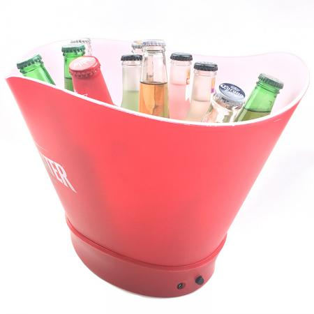 LED Beer Cooler Bucket With Hollow Out Logo