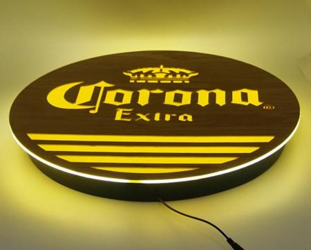 Wooden Sign Board With Lighting Logo