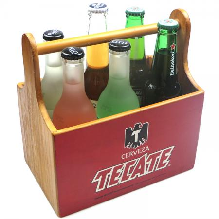 6 Cpmpartment Rectangle Wooden Bottle Holder