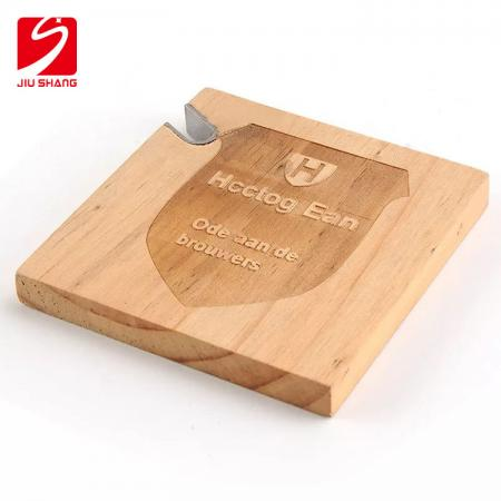 Personalized TWO-IN-ONE Wood Coasters with Built in Bottle Opener