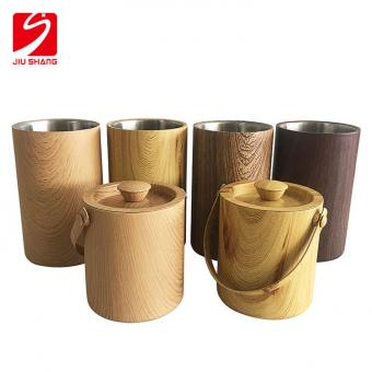 Stainless steel metal champagne bucket with wood grain CMYK full color printing manufacturer