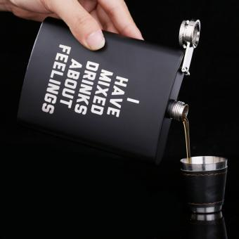 8OZ black matt stainless steel metal outdoor portable English alphabet hip flask