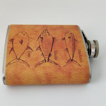 6OZ fish-shaped pattern foreskin heat transfer stainless steel hip flask