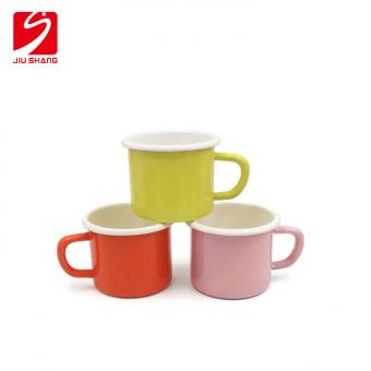 Factory wholesale promotion custom printing enamel metal steel camping mug for coffee