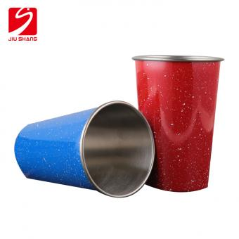 Curve Rim Single Wall Staineless  steel cup with spray dots