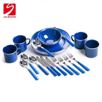 Enamel Tableware Set: Plates, Bowls, Mugs & Utensils by Stansport